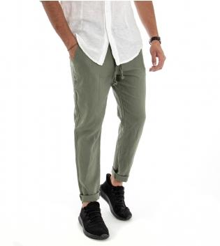 Pantalone Uomo Lungo Lino Cotone Elastico In Vita Tasche America Verde Tinta Unita GIOSAL