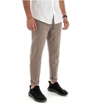 Pantalone Uomo Lungo Lino Cotone Elastico In Vita Tasche America Fango Tinta Unita GIOSAL