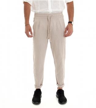 Pantalone Uomo Lungo Lino Cotone Elastico In Vita Tasche America Beige Tinta Unita GIOSAL