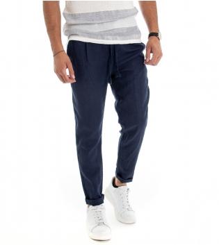 Pantalone Uomo Lungo Lino Cotone Elastico In Vita Tasche America Blu Tinta Unita GIOSAL
