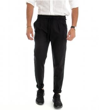 Pantalone Uomo Lungo Lino Cotone Elastico In Vita Tasche America Nero Tinta Unita GIOSAL