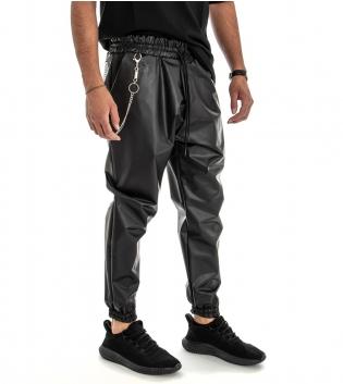 Pantalone Uomo Lungo con Catenina Effetto Ecopelle Tinta Unita Elastico Tasche America GIOSAL