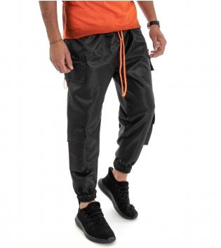Pantalone Uomo Lunga Tuta Elastico in Vita Tinta Unita Modello Cargo GIOSAL