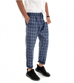 Pantalone Uomo Lungo Fantasia Quadri Tinta Unita Tessuto Leggero Cotone GIOSAL
