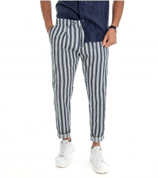 Pantalone Uomo Lungo Cotone Tasche America Fantasia Rigato Tessuto Leggero GIOSAL