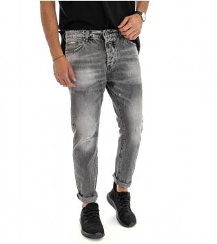 Jeans Uomo Pantalone Lungo Denim Grigio Sfumato Casual Cinque Tasche GIOSAL-Grigio-42