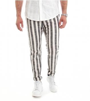 Pantalone Uomo Lino Cotone Lungo Righe Grigio Tasche America Tasca Filetto GIOSAL