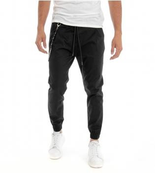 Pantalone Uomo Lungo Tuta Cotone Elastico in Vita Tinta Unita Nero GIOSAL
