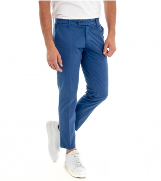 Pantalone Lungo Uomo Cotone Tasca America Modello Capri Tinta Unita Blu Royal  GIOSAL