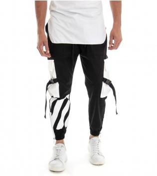 Pantalone Uomo Lungo Tuta Modello Cargo Tasconi Laterali Elastico GIOSAL