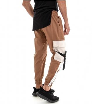 Pantalone Uomo Lungo Tuta Modello Cargo Tasconi Laterali Elastico Camel GIOSAL