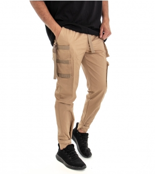 Pantalone Uomo Lungo Modello Tuta Cargo Cotone Tinta Unita Camel GIOSAL
