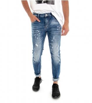 Pantalone Uomo Lungo Jeans Denim Macchie Di Pittura GIOSAL-Denim-42