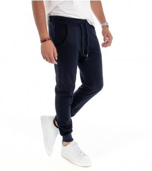 Pantalone Uomo Tuta Elastico in Vita Tasche Laterali Blu Tinta Unita Felpato Comfort Sport GIOSAL