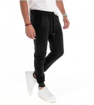 Pantalone Uomo Tuta Elastico in Vita Tasche Laterali Nero Tinta Unita Felpato Comfort Sport GIOSAL