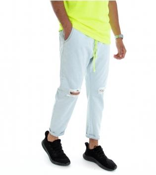 Pantalone Uomo Denim Jeans Chiaro Rotture Elastico Fluo GIOSAL