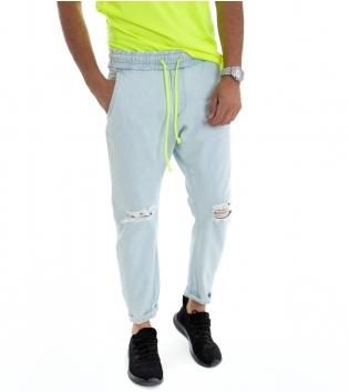 Pantalone Uomo Denim Jeans Chiaro Rotture Elastico Fluo GIOSAL-Denim-S