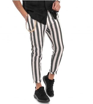 Pantalone Lino Uomo Rigato Lungo Nero Bianco Tasca America GIOSAL