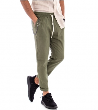 Pantalone Uomo Lino Tinta Unita Panta Tuta Verde Tasca America Cavallo Basso GIOSAL
