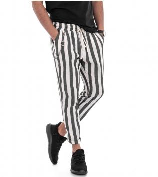 Pantalone Uomo Bicolore Fantasia A Righe Elastico Nero Rigato Tasca America GIOSAL