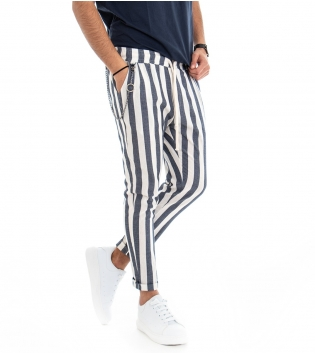 Pantalone Uomo Fantasia A Righe Bicolore Tasca America Rigato Elastico Blu GIOSAL