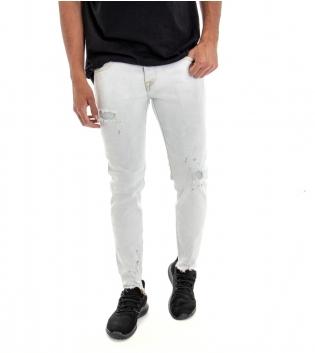 Jeans Uomo Pantalone Lungo Denim Chiaro Rotture Cinque Tasche Slim GIOSAL