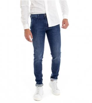 Pantalone Uomo Jeans Denim Blu Slim Tasca America Cotone GIOSAL -Denim-44