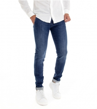 Pantalone Uomo Jeans Denim Blu Slim Tasca America Cotone GIOSAL