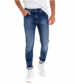 Jeans Uomo Pantalone Denim Blu Cinque Tasche Slim Tessuto Leggero GIOSAL -Denim-46