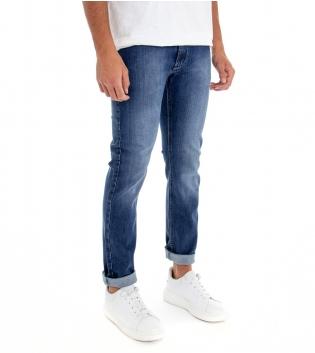 Jeans Uomo Pantalone Denim Blu Cinque Tasche Slim Tessuto Leggero GIOSAL