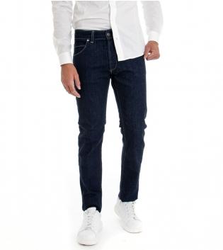 Jeans Uomo Pantalone Lungo Denim Scuro Cinque Tasche GIOSAL