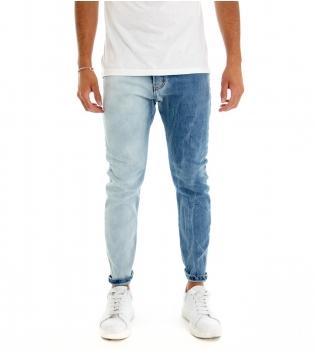 Jeans Uomo Pantalone Lungo Denim Bicolore Blue Cavallo Basso Cinque Tasche GIOSAL-Denim-42