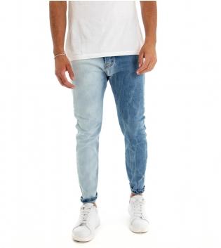 Jeans Uomo Pantalone Lungo Denim Bicolore Blue Cavallo Basso Cinque Tasche GIOSAL
