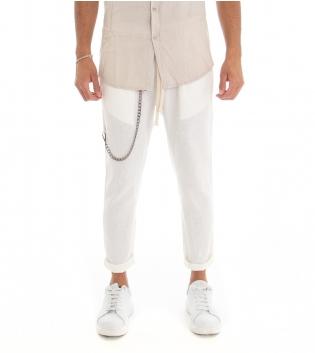 Pantalone Uomo Lino Tinta Unita Panta Tuta Bianco Tasca America Cavallo Basso GIOSAL