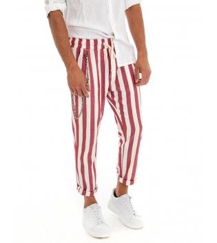 Pantalone Uomo Lino Rigato Rosso Elastico Catena Righe Tasca America GIOSAL