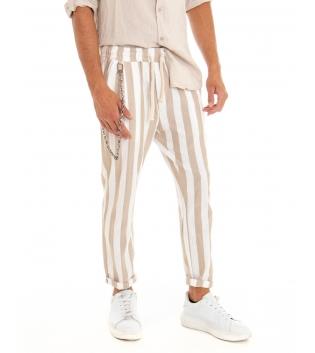 Pantalone Uomo Lino Rigato Beige Elastico Catena Righe Tasca America GIOSAL
