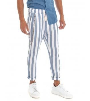 Pantalone Uomo Lino Rigato Celeste Elastico Catena Righe Tasca America GIOSAL