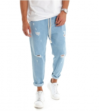 Pantalone Uomo Jeans Lungo Paul Barrel Denim Chiaro Rotture Elastico Coulisse  GIOSAL