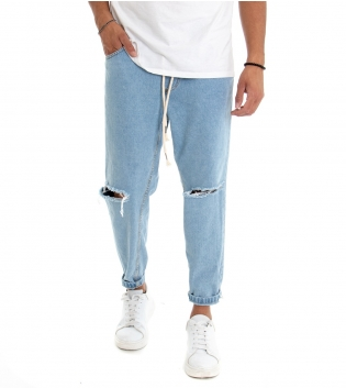 Pantalone Uomo Jeans Denim Chiaro Rotture Elastico Coulisse  GIOSAL