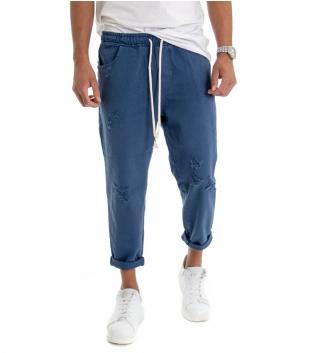 Pantalone Uomo Jeans Tinta Unita Blu Rotture Elastico Coulisse  GIOSAL