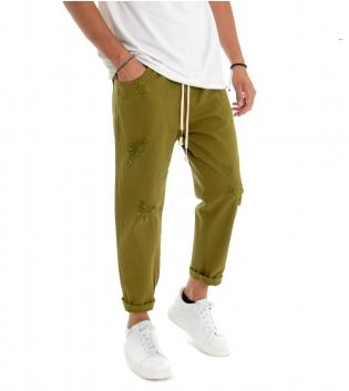 Pantalone Uomo Jeans Tinta Unita Verde Oliva Rotture Elastico Coulisse  GIOSAL