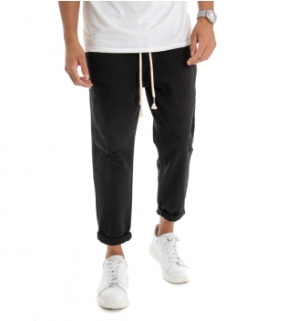 Pantalone Uomo Jeans Tinta Unita Nero Rotture Elastico Coulisse  GIOSAL