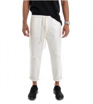 Pantalone Uomo Jeans Tinta Unita Bianco Rotture Elastico Coulisse  GIOSAL