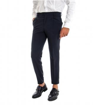Pantalone Uomo Lungo Classico Elegante Equipe Slim Tinta Unita Blu GIOSAL