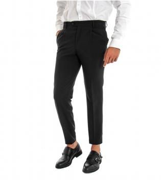 Pantalone Uomo Lungo Classico Elegante Equipe Slim Tinta Unita Nero GIOSAL