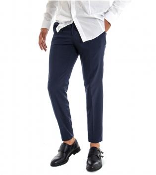 Pantalone Uomo Lungo Classico Elegante Equipe Slim Tinta Unita Blu Royal GIOSAL