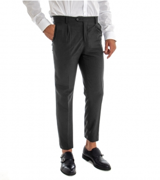 Pantalone Uomo Lungo Classico Elegante Equipe Slim Tinta Unita Grigio Scuro GIOSAL