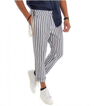 Pantalone Uomo Rigato Lino Blu  Tasca America Righe Sottile GIOSAL