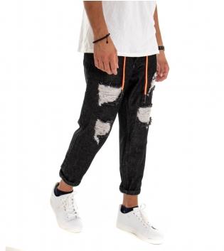 Pantalone Uomo Lungo Jeans Denim Scuro Nero Rotture Cinque Tasche GIOSAL