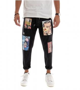 Pantalone Uomo Lungo Jeans Denim Scuro Nero Stampe Foto Rotture GIOSAL